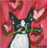 Boston Terrier Valentine rose hearts