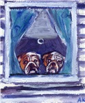 Bulldog window dogs