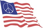 American Peace Sign Flag ~ A peace symbol flies in the field of blue over the stars and bars waving in the rippling wind.