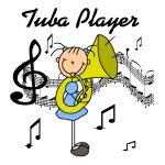 Stick Figure Tuba Player T-shirts and Gifts