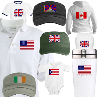 Flags of the World Embroidered Military Caps, Tees