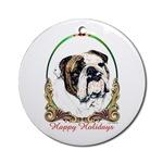Porcelain Holiday Bulldog Ornaments