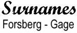 Vintage Surname - Forsberg - Gage