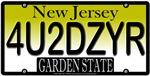 4U2DZYR New Jersey Vanity License Plate Design