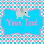 Pink & Blue Elephant Personalized