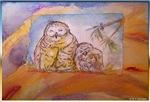 Owls, bird art