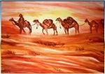 Camels, desert, art