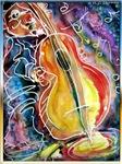 Bass musician, fun art