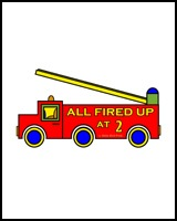 FIRE ENGINES ON TEES FOR TWO YEAR OLDS