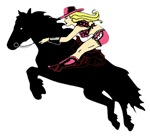 Vintage Cowgirl on Horse