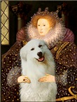 QUEEN ELIZABETH I<br>& Great Pyrenees