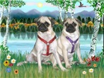 BIRCHES<br> & 2 fawn Pugs