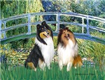 LILY POND BRIDGE<br>& 2 Collies