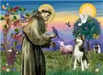 SAINT FRANCIS<br>& Siberian Husky(BW)#3