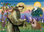 ST. FRANCIS<br>& English Bulldog (Br-white)