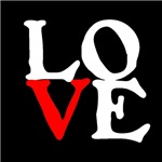 LOVE designed for Black T-shirts