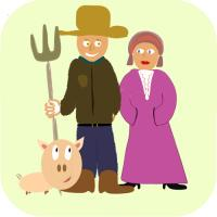 Farmer, wife and pet pig