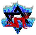 The Girl She Devil Crawl Pentagram Blue Flames