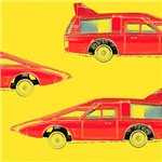 Red Pop Art Vintage Car Decor