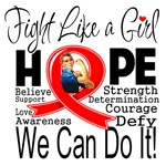 Heart Disease Hope Fight Like a Girl Shirts