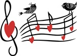 Musical notes and love birds