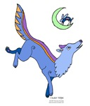 Blue Coyote and the Rabbit in the Moon