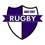 Rugby Shield White Purple Personalize