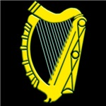 Large Irish Harp on T-shirts and Irish gifts