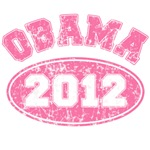 OBAMA 2012 Pink Faded Look Tshirts