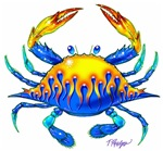 Blue Crab with Flames