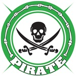Green Pirate Skull and Swords