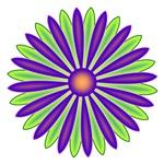 Cool Green & Purple Zinnia