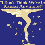 I don't think we're in Kansas Anymore is a famous line by Doroth Gale in the Wizard of Oz.  This great design shows a tornado tossing trees, cows and barns around.