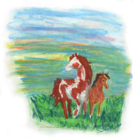 Painted Horses, horse and colt animal picture art