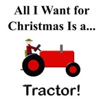Red Christmas Tractor