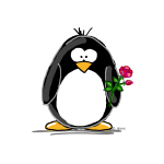 Penguin with a Rose