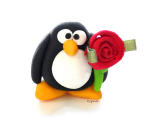 Clay Penguin with Rose