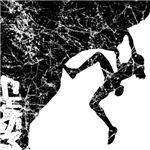 Female Rock Climber Overhang