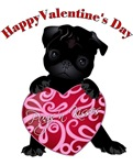 Happy Valentines Day Black Pug