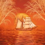 Orange Sunset Sailboat