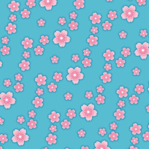 Blue Cherry Blossoms Pattern