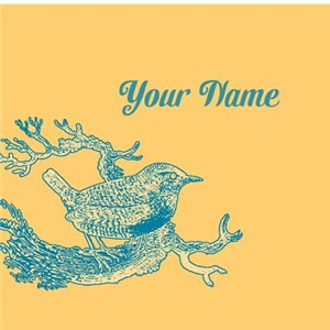 Personalized Vintage Bird Blue