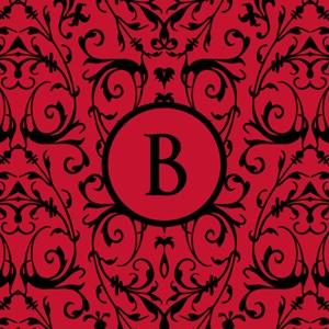 MONOGRAM Red & Black Damask Pattern