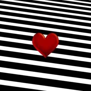 Red Heart On Black And White Stripes