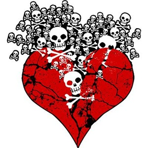 Broken Heart With Skulls