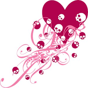 Pink Heart With Skulls And Swirls