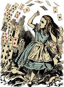 Vintage Alice Flying Cards Dark