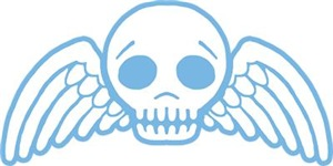 Cute Blue Skull With Wings