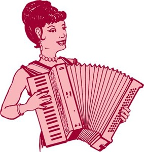 Retro Accordion Lady Pink