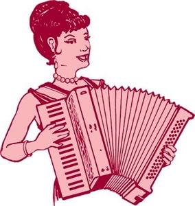 Retro Accordion Lady Pink